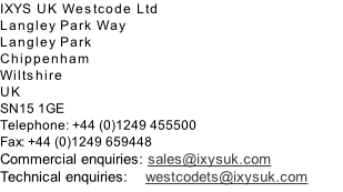 IXYS UK Westcode Ltd Langley Park Way Langley Park Chippenham Wiltshire UK SN15 1GE Telephone: +44 (0)1249 455500 Fax: +44 (0)1249 659448 Commercial enquiries: sales@ixysuk.com Technical enquiries:    westcodets@ixysuk.com